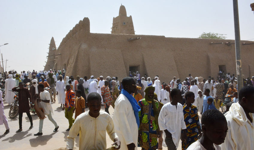 A crowd of people in Mali