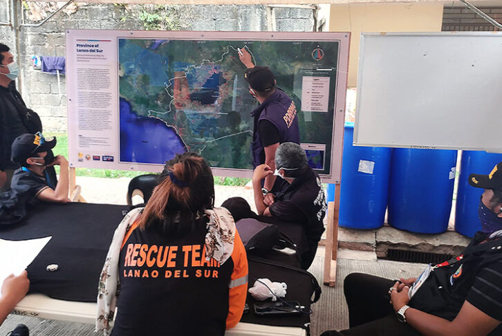 The Provincial Disaster Risk Reduction and Management Office of Lanao del Sur in southern Philippines uses Alert's general reference maps in planning and coordinating their COVID-19 prevention activities in the province.