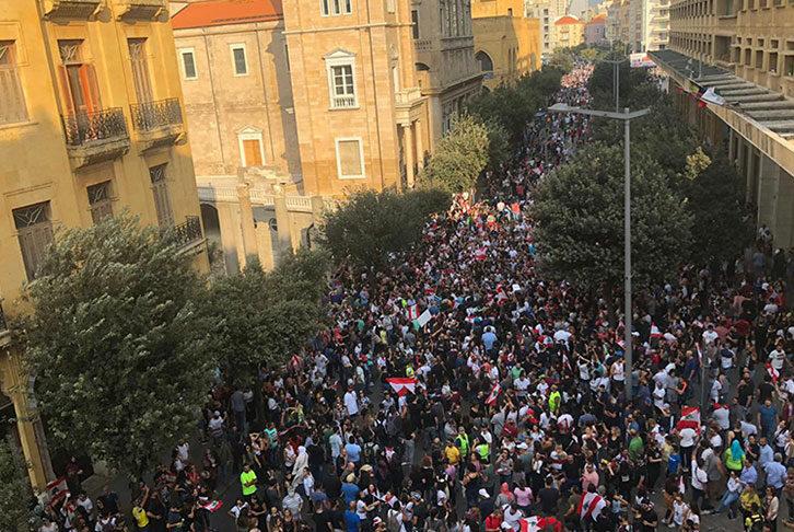 A crowd protesting in Lebanon