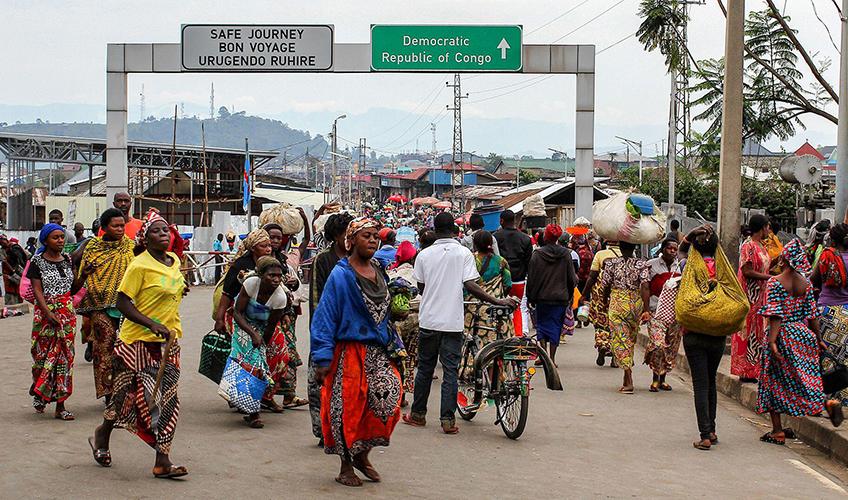 Border crossing between DRC and Rwanda.