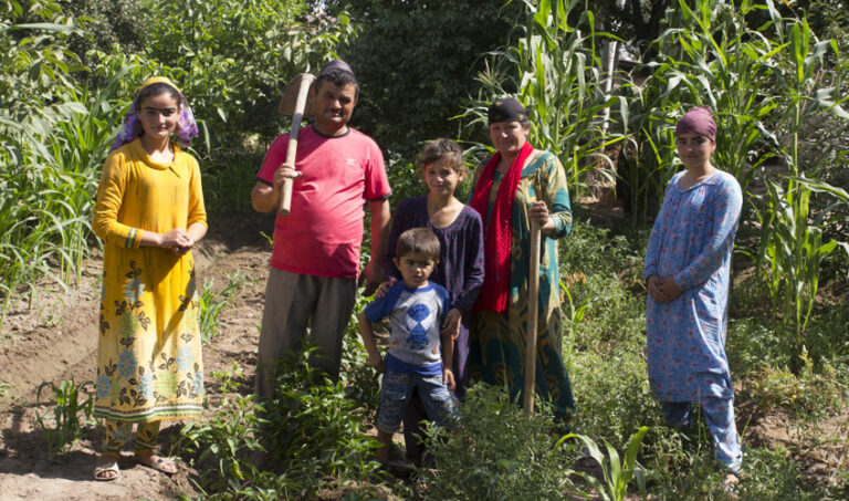 A family collect crops.