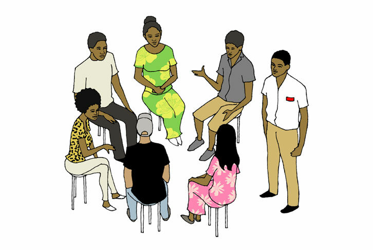 Illustration of a group of people in a circle talking