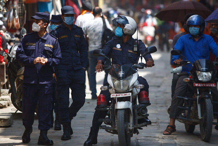 Police conduct COVID-19 inspections among shopkeepers in Nepal