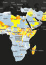 Graphic of Africa highlighting data of advance warning for water-related conflict in advance. The background is black, African is light grey, and conflict areas are shown in yellow and orange.